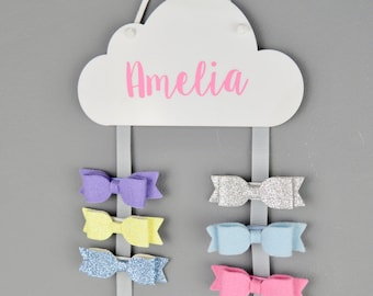 Hair Bow Hanger White with colour name - Hair Bow Holder - Personalised - Hair Clips - Cloud - Hair Accessory Storage - Clips - Sleepy Eyes