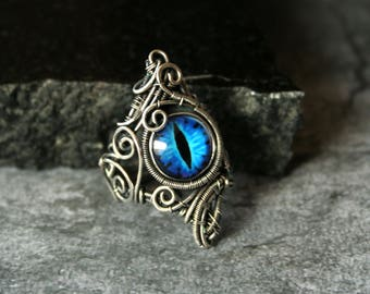 Blue Dragon's Eye Sterling Silver Ring US7 3/4 - Dragon Eye Wire Wrapped Silver Ring - OOAK