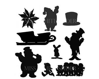 Frosty The Snowman Shadow Puppet Set, 9 templates