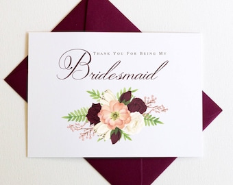 Thank You for Being My Bridesmaid Card | Thank You for Being My Maid of Honor Card | Bridal Party Cards | Marsala Wedding Style #LGW2172
