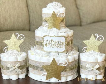 Twinkle Twinkle Diaper Cake Set, Gender Neutral Star Burlap Lace Gold Baby Shower Diaper Cake, Baby Shower Decor Centerpiece Gift, Set of 3