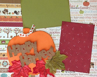 Scrapbooking Layout Happy Harvest Fall Autumn Premade Pages Kit
