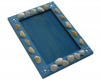 "Frame picture wood 10 x 15 cm, 13x18cm, 18x24cm or 20x30cm - ""The sea shells"" - blue background - method one strand Deco ""pinning"" - custom"