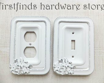Matching Switch Plate And Outlet Plug Cover Shabby Chic White Light Electrical Painted Single Cottage Framed Toggle Design DESCRIPTION BELOW