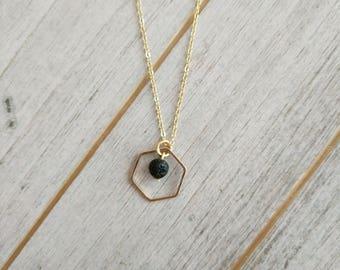 Tiny Hexagon LAVA Diffuser Necklace, LAVA necklace, Diffuser Necklace, Minimalist jewelry, hexagon necklace, aromatherapy jewelry