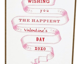 Wishing you the Happiest Valentine's Day Vintage Banner - Single Card