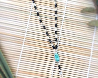 Black faceted beaded chain Necklace with Turquoise and Crystal Quartz
