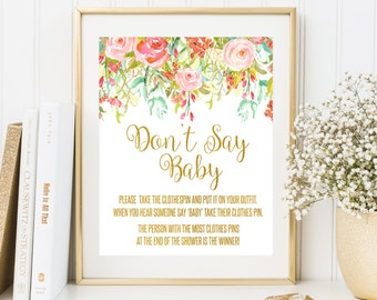 Dont Say Baby Game Baby Shower Game Gold Baby Shower Printable Clothes Pin Game Gold Baby Shower Sign Floral Baby Shower Party Game Sign