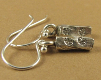 Silver nugget stamped earrings. Rectangle. Fine silver. Sterling silver hooks.