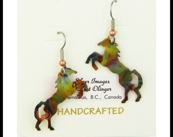 Horse earrings, horse jewelry, equestrian earrings, country western art, wild horses, rodeo horses, equine earrings, cowgirl, rodeo queen