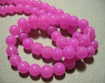 Jade Glass  Beads Deep Pink  Round 10MM
