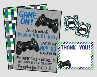 Game On! Video Game Birthday Party Invitation