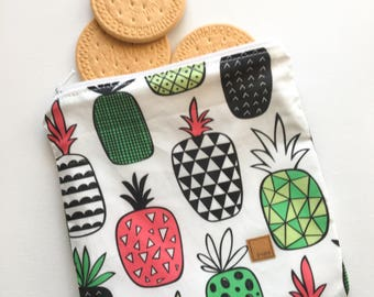 Pineapple snack bag Reusable lunch bag Zero waste lunch bag Kids Gift for her Sandwich bag Gift for women Coworker gift Gifts for mom