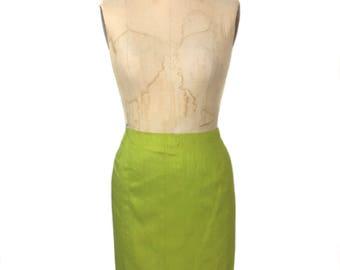 vintage 1980's NORMA KAMALI silk pencil skirt / green citrus / raw silk / mini skirt / spring summer / women's vintage skirt / tag size 8