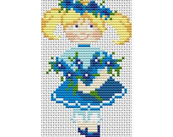 Cross Stitch Pattern Little girl, doll, baby counted embroidery