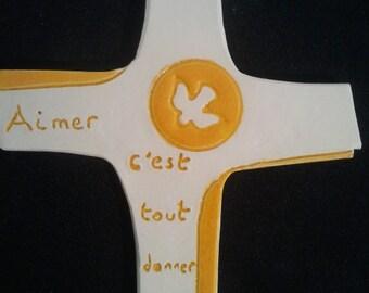 Ceramic yellow and white cross