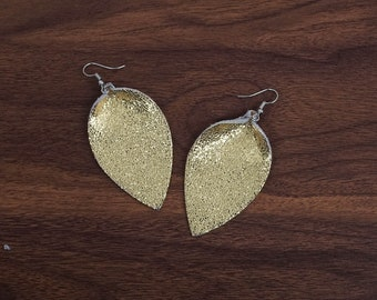 Leather Leaf Earrings Leather Earrings C Gold