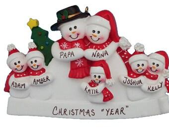Personalized Snow Family of 7 Ornament - Personalized Grandparents Ornament with 5 Grandkids - Personalized Ornament for 5 Grandchildren