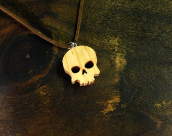 Skull necklace made from Elm - hand cut with scroll saw - FREE GOBAL SHIPPING