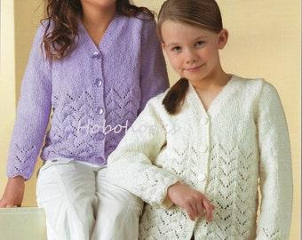 Girls knitting pattern girls cardigans girls lacy cardigans pattern borders long length DK cardigans pattern 20-30 inch pdf instant download