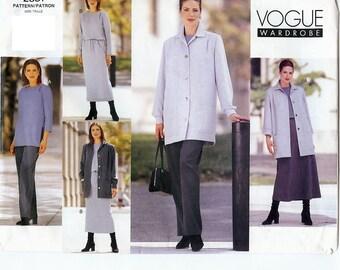 UNCUT Vogue Wardrobe Pattern 2381 Misses/Misses Petite Jacket, Dress, Top, Skirt & Pants 6-10