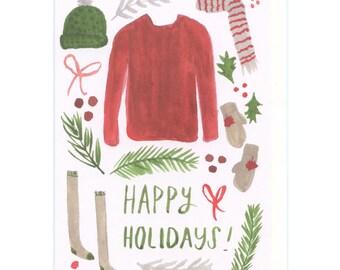 holiday cards set of 6 - happy holidays - blank inside greeting cards - happy holidays greeting card boxed set - holiday sweater