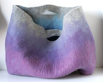 EXTRA LARGE Oversized Lilac Ombre Sturdy Everyday Art Bag / Carryall / Tote / Basket / Shopping / Market / Picnic / Hand felt wool / Art Bag