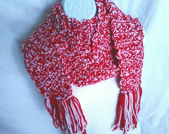 Red and White Scarf with Fringe, Chunky Scarf, Fringed Scarf, Warm Scarf, Winter Scarf, Christmas Scarf, Festive Scarf