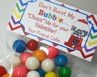 Valentine Bubblegum Treat Bag Topper-Valentine Treat Topper-Chews Me Valentine-Printable Kids Valentin-Personalized Valentine Bubblegum Top