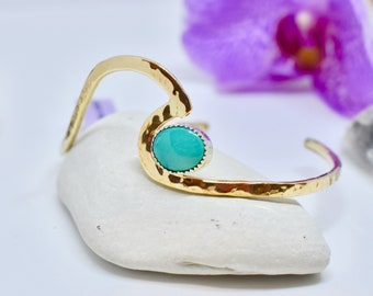 Gold Filled Wave Cuff, Turquoise Cuff, Ocean Jewelry, Gift for her, Ocean Inspired, Surfer Jewelry, Mermaid Jewelry, Beach cuff