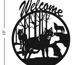 Wolf Wildlife Coyote Black Metal Welcome Sign