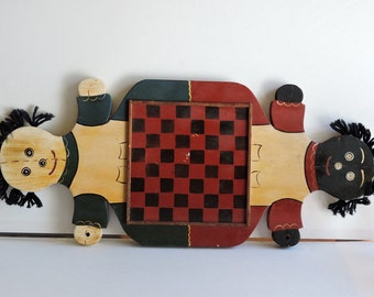 Vintage American Folk Art, Checker Board, Board Games, Wall Hanging,Home Decor
