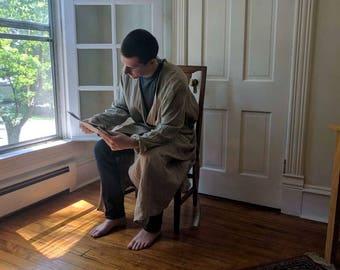 Mens Linen Robe / Full Length 'Fabian' Washable Linen Robe / by Breathe Sleepwear