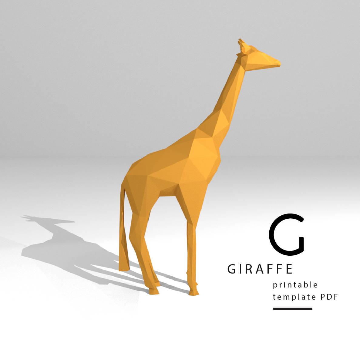 Printable DIY template PDF. Giraffe low poly paper model