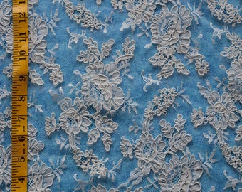 """NEW French Alencon Lace, bridal lace fabric, Ivory color, 36"""" wide, Sold/Priced by the 1/2 yard"""