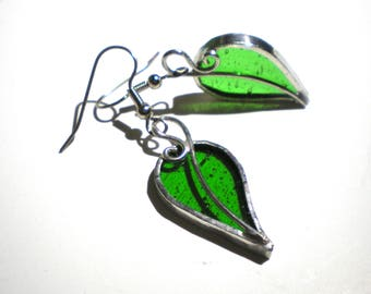 Living Leaves - Stained Glass Earrings - Green Leaf Womens Accessories Lightweight Jewelry Nickel-Free Hooks (READY TO SHIP)