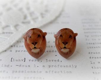 Resin Acrylic Lion Stud Earrings