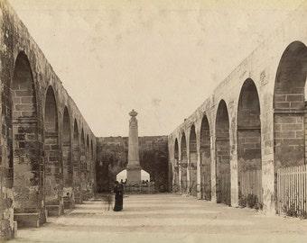 Upper Barrakka Arch Hall Valletta Malta antique albumen photo by R. Ellis