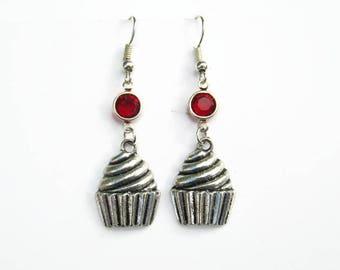 Cupcake Birthstone Earrings, Peronalized Earrings, Dessert Earrings, Cupcake Jewelry, Foodie Earrings, Tiny Cake Earrings