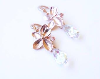 Earrings, Rose Gold Earrings, Crystal Earrings, Dangle Earrings, Drop Earrings, Flower Earrings, Swarovski Earrings, Handmade Earrings, Gift