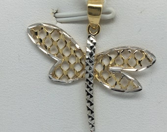 14K Two-Tone Gold Diamond Cut Dragonfly Pendant