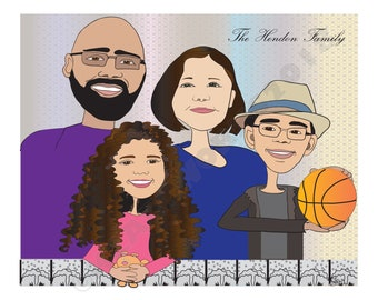 Family Caricature Portrait