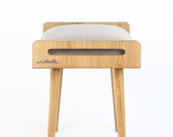 Stool / Seat / Ottoman / bench made of solid oak board, oak legs, upholstered in grey linen fabric