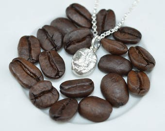 Sterling Silver Coffee Bean Necklace - Gifts for Coffee Lovers and Caffeine Addicts - Coffee Jewellery - Personalised Coffee Gift