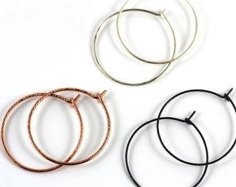 Hoop earrings you Choose, geometric earrings, Steel hoops, Copper hoops, Silver hoops, sand and silver hoop earrings Victoria BC Canada
