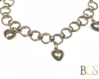 Vintage Ladies Sterling Silver Puffy Hearts Chain Bracelet - A Must See! - Wow!