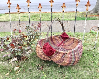 Stunning Wedding Basket, Gathering Basket, Farmhouse Basket with Twig Handles and Many Colors. Large Vintage Hand Woven Buttocks Basket.