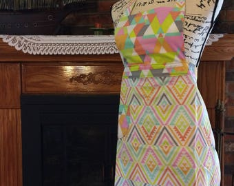 Fun And Flirty Apron With Pocket // Pink And Green Apron // Lace Apron // Kitchen Accessories // Handmade Apron // Gift For Her