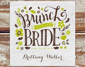 Bridal Shower Personalized Napkins Mocha And Apple, Personalized Bridal Shower Napkins, Cocktail Napkins For Bridal Shower, Paper Napkins