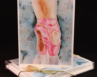 Set of  Original Watercolor PRINT- Ballet Slippers Greeting Cards/ Note Cards  (Set of four), ballerina cards, cards for her, Ballet Cards
